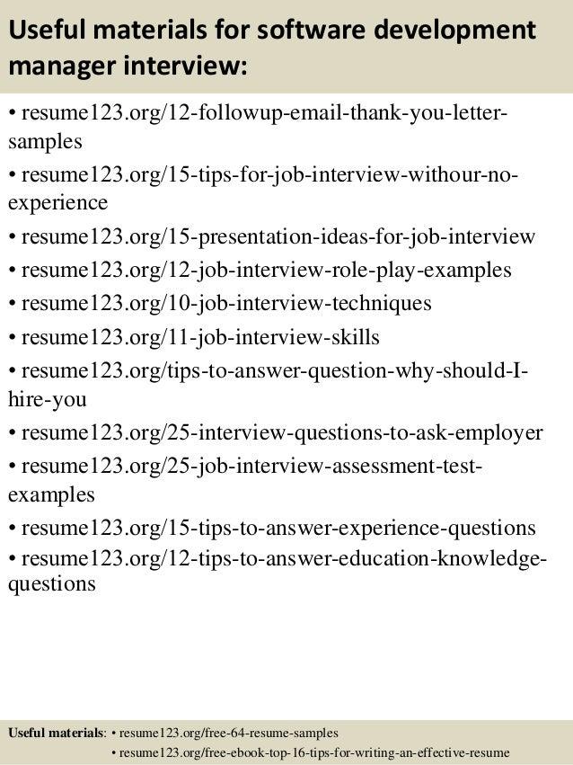 14 useful materials for software development manager - Software Development Manager Resume