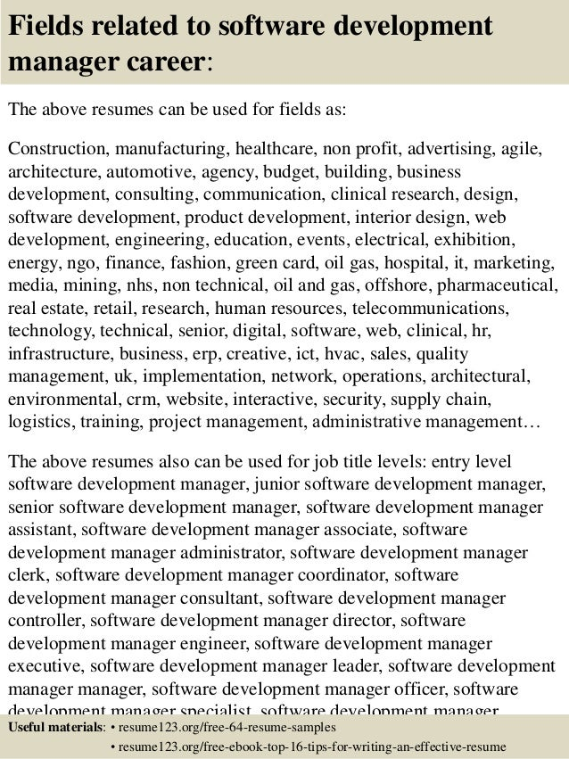 ... 16. Fields Related To Software Development Manager ...  Application Development Manager Resume