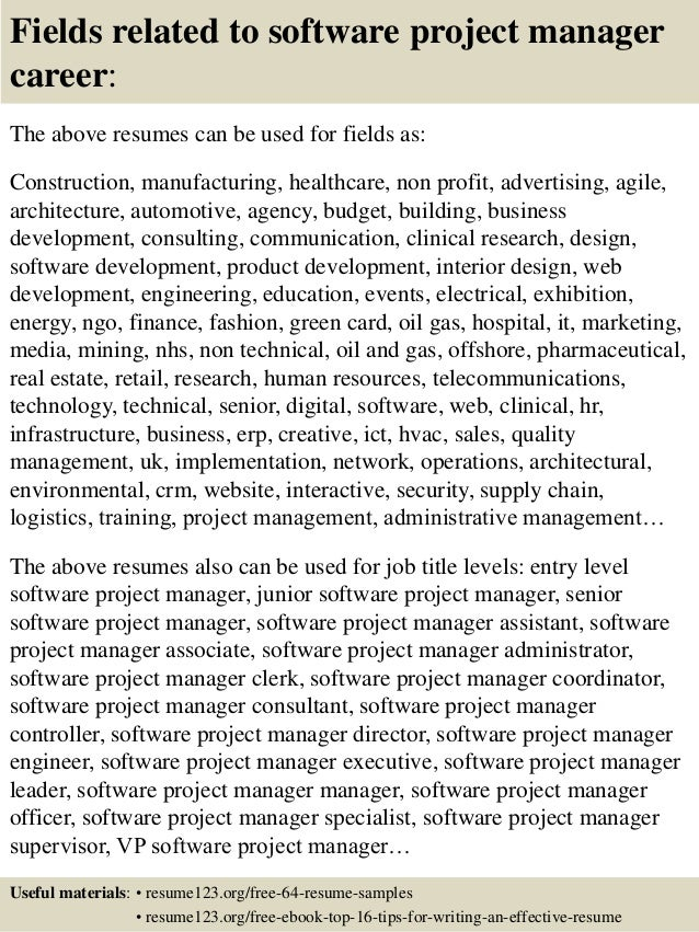 software project manager resume samples