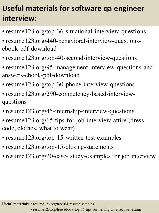 12 useful materials for software qa engineer - Sample Software Engineer Resume
