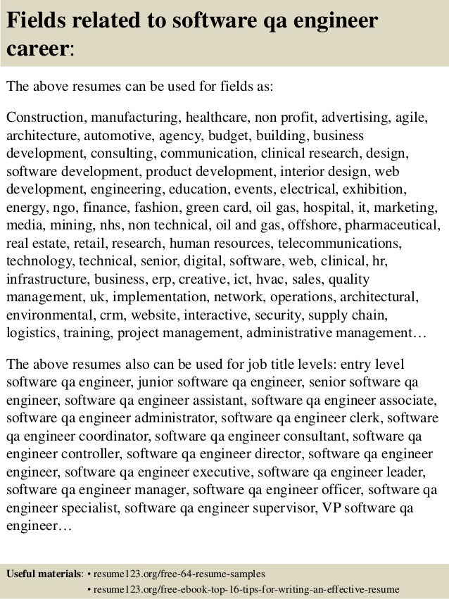 16 fields related to software qa engineer