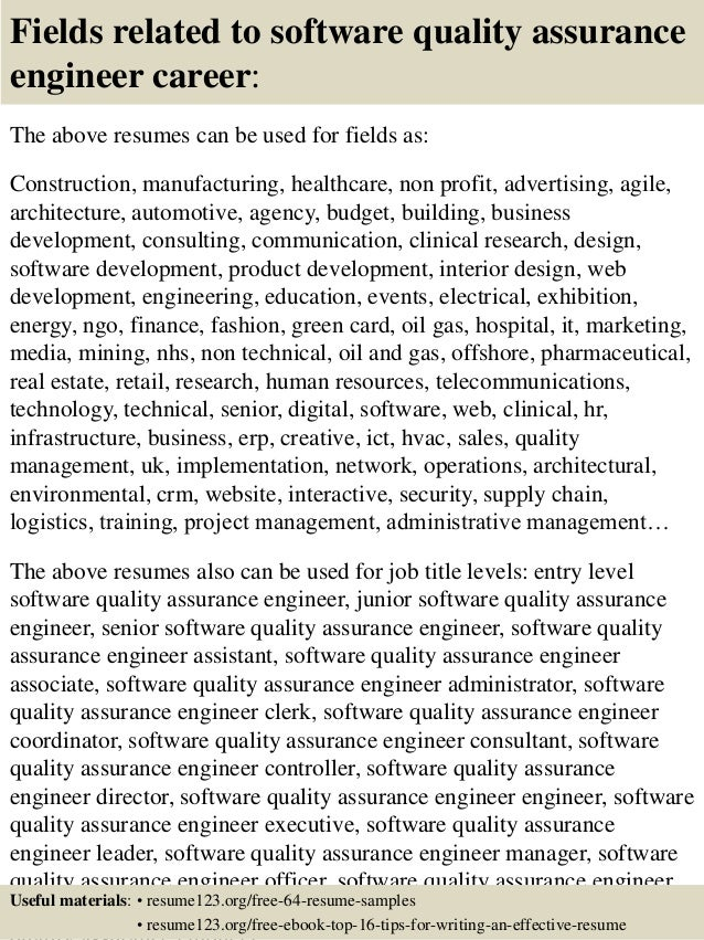 16 fields related to software quality assurance engineer career the above resumes - Sample Resume Software Quality Assurance