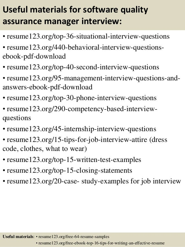 ... 12. Useful Materials For Software Quality Assurance Manager ...  Quality Assurance Manager Resume