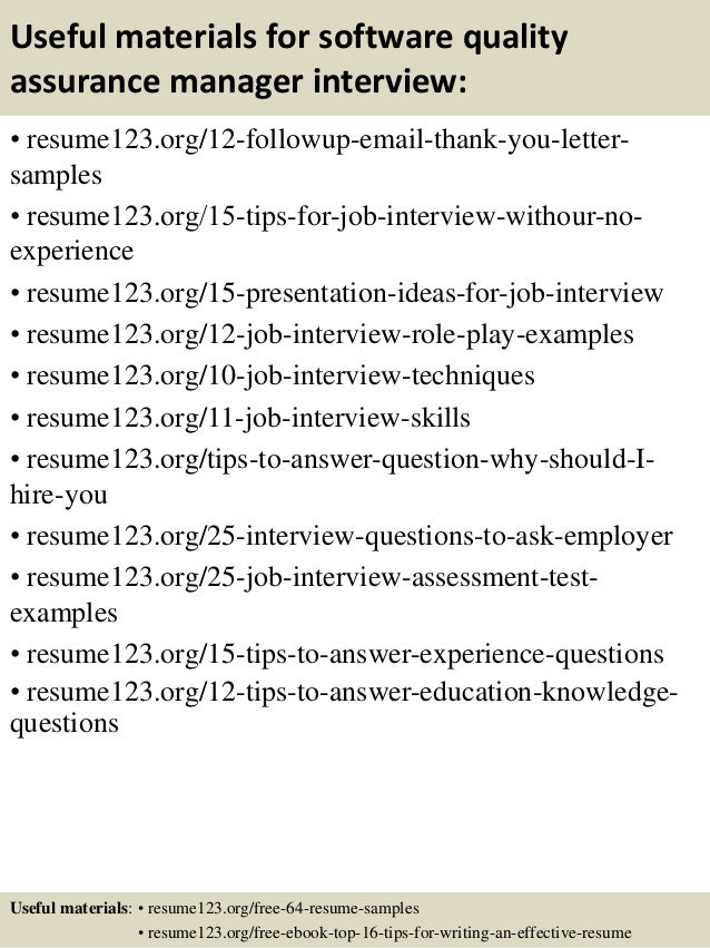 ... 14. Useful Materials For Software Quality Assurance ...  Software Quality Assurance Resume