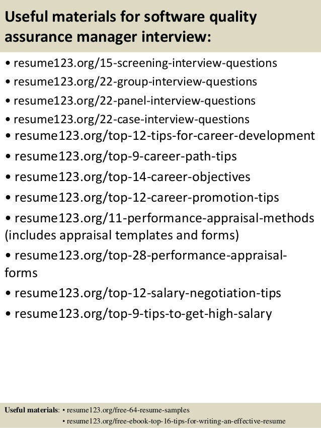 ... 15. Useful Materials For Software Quality Assurance Manager ...  Quality Assurance Manager Resume