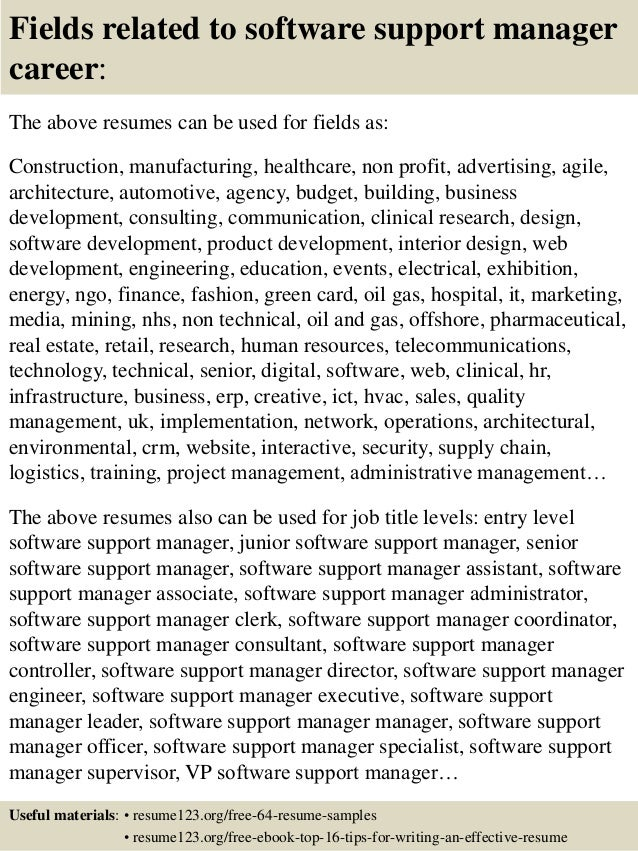 top 8 software support manager resume samples - Technical Support Manager Resume