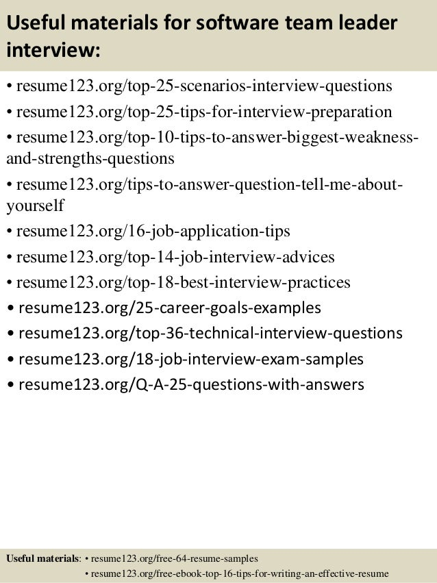 ... 13. Useful Materials For Software Team Leader ...  Team Leader Resume