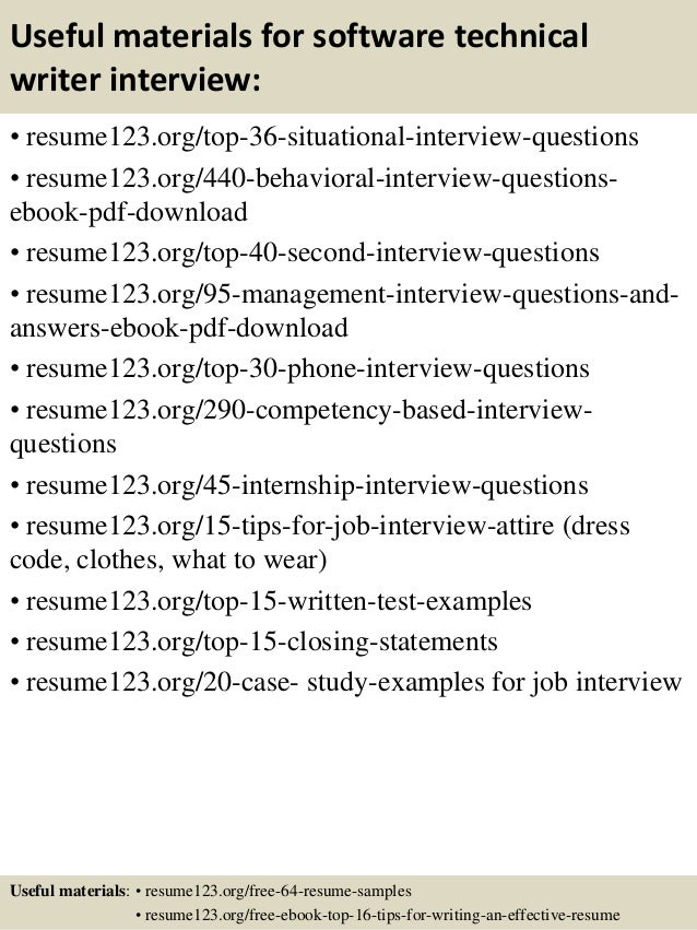 ... 12. Useful Materials For Software Technical Writer ...  Technical Writer Resume Sample