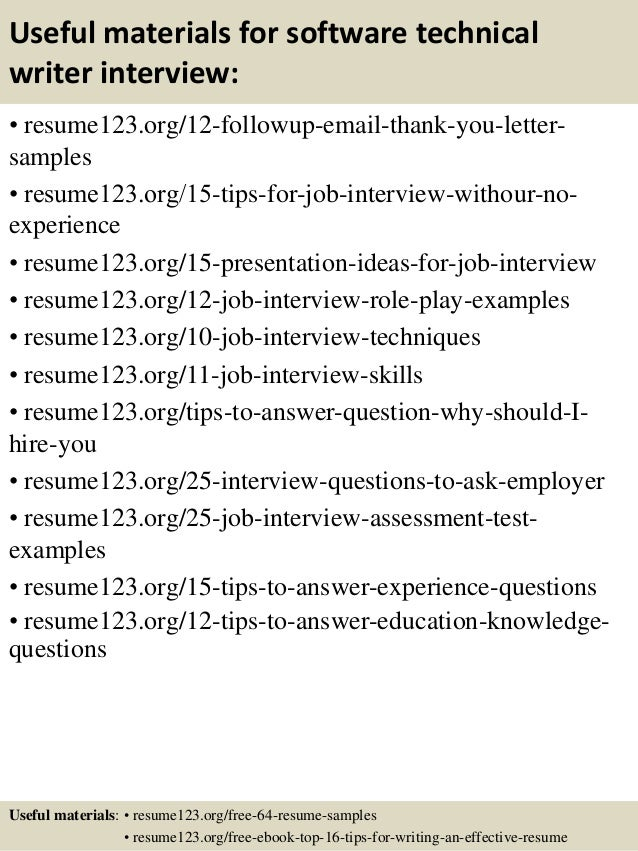 Sample Resume For Technical Writer - Atarprod.Info