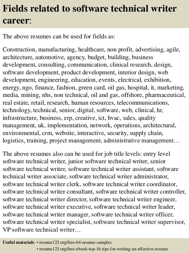 ... 16. Fields Related To Software Technical Writer ...  Technical Writer Resume Sample