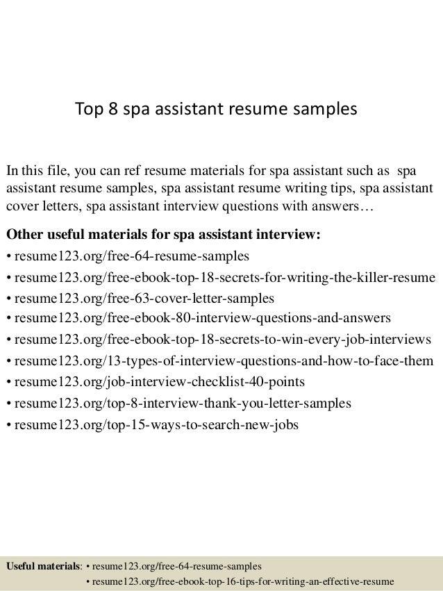 top 8 spa assistant resume samples 1 638 jpg cb 1432958089