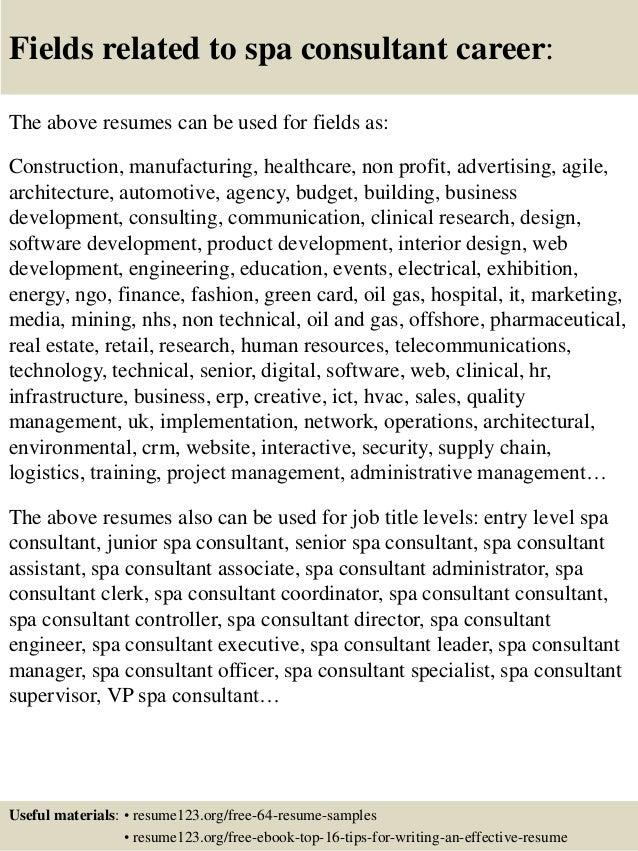 spa resume sample