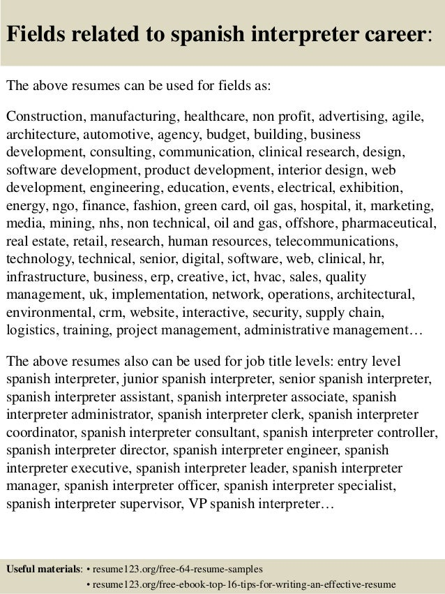 Top 8 Spanish Interpreter Resume Samples