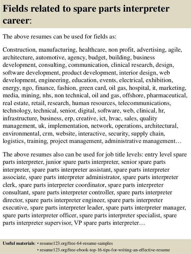 parts manager cover letter