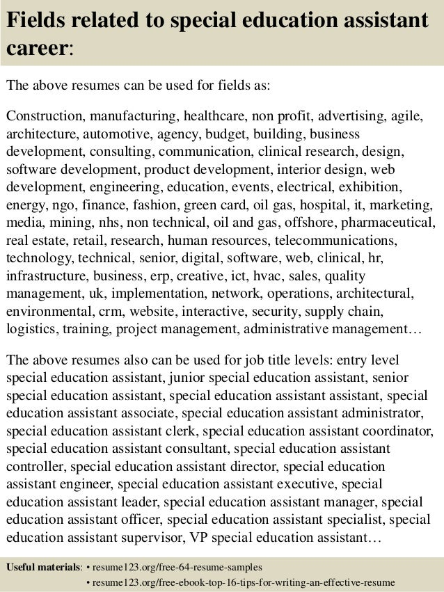 Paraprofessional Resume Templates Special Education Teacher Assistant Resume  Top Special Education VisualCV  Special Education Assistant Resume