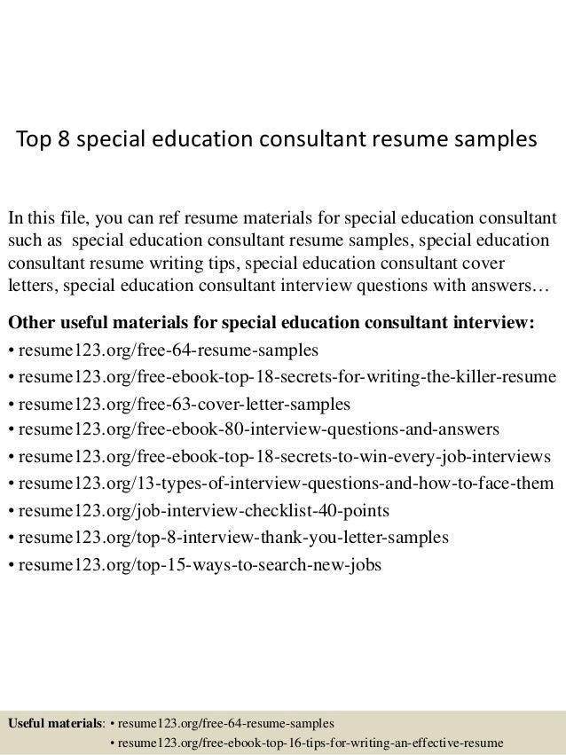 top 8 special education consultant resume sles