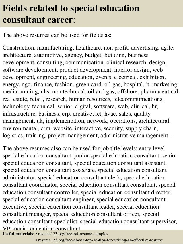 16 Fields Related To Special Education Consultant