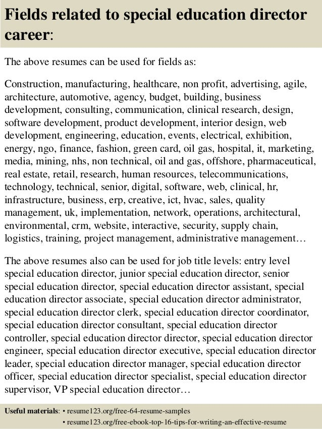 16 fields related to special education - Special Education Resume Samples