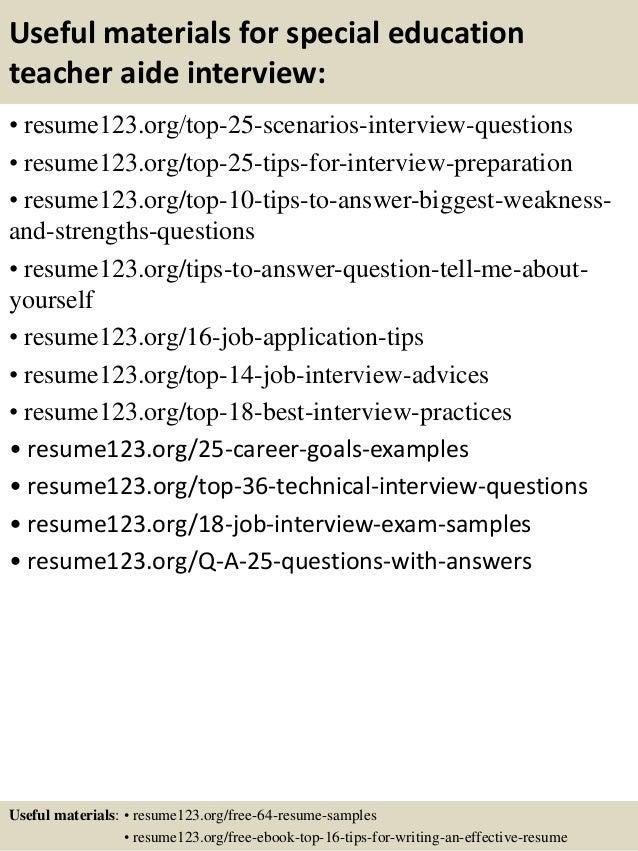 special education teacher assistant resume