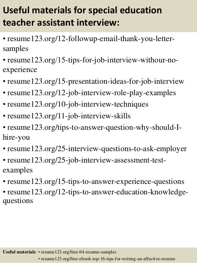 ... 14. Useful Materials For Special Education Teacher Assistant ...  Special Education Assistant Resume