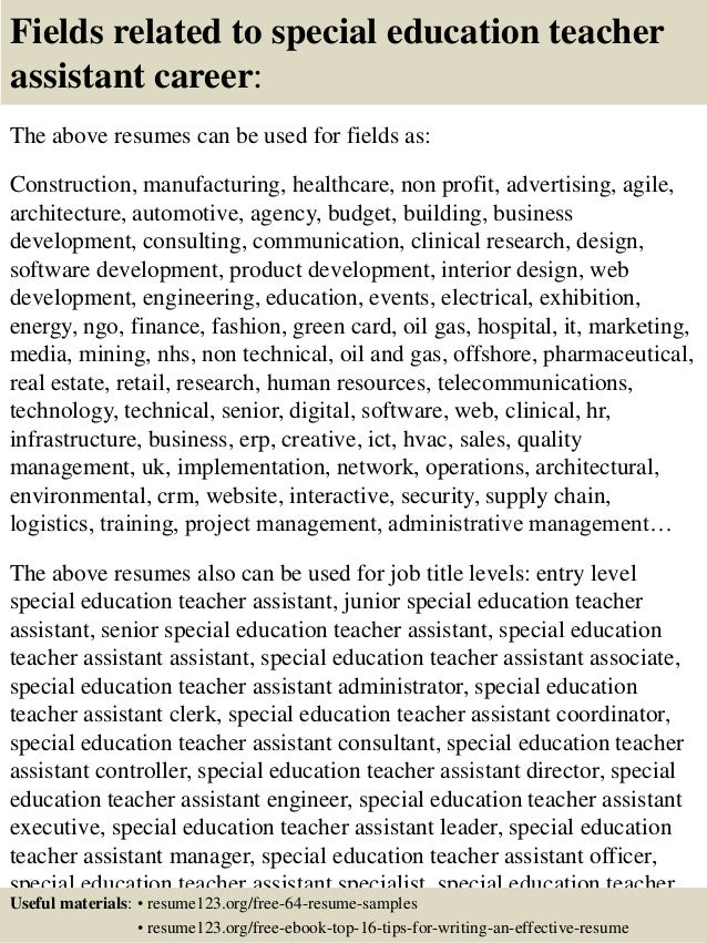 top 8 special education teacher assistant resume samples - Sample Special Education Teacher Resume