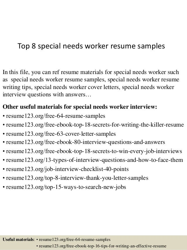 top 8 special needs worker resume samples