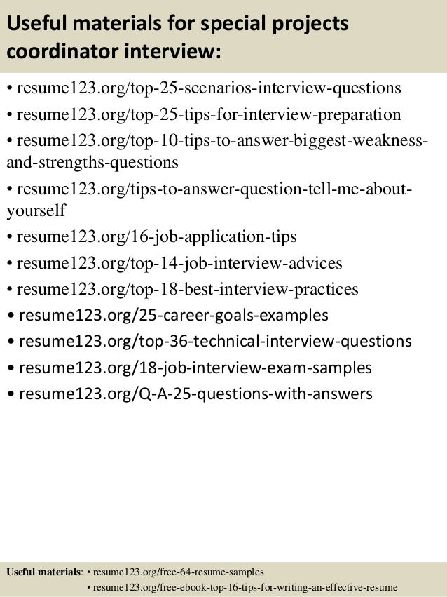 13 useful materials for special projects coordinator - Project Coordinator Resume Samples