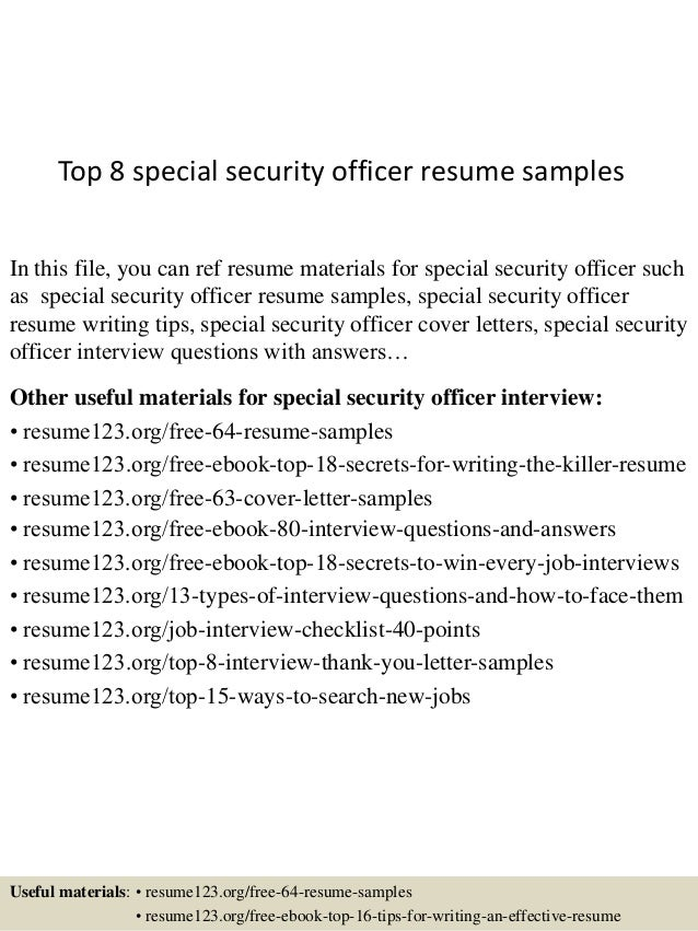 top 8 special security officer resume samples 1 638jpgcb1434438899
