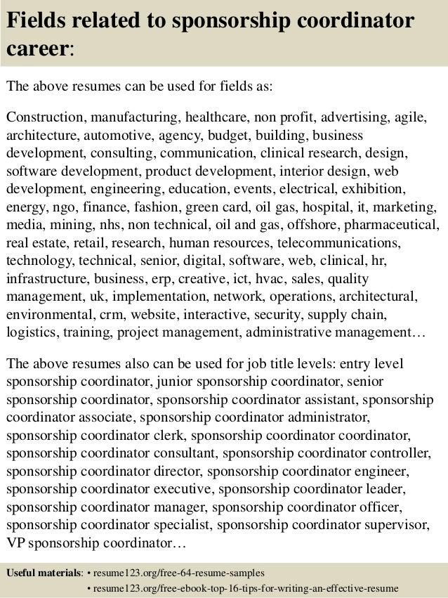 Top 8 sponsorship coordinator resume samples – Sponsorship Resume Template
