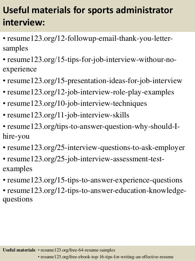 14 useful materials for sports administrator - Sports Administration Sample Resume