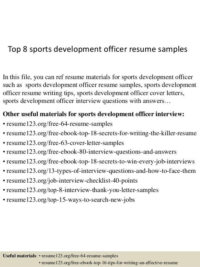 Top 8 sports development officer resume samples