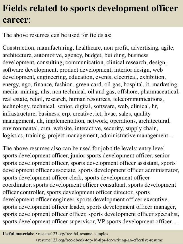 top 8 sports development officer resume sles