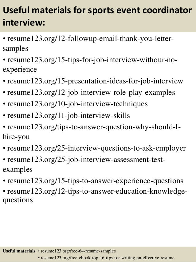 Top  Sports Event Coordinator Resume Samples