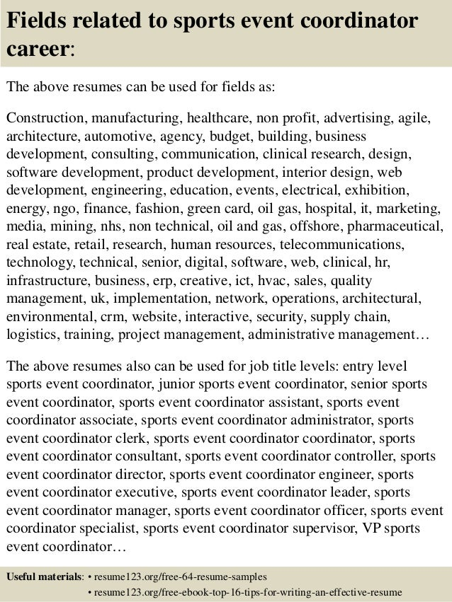 Top 8 Sports Event Coordinator Resume Samples