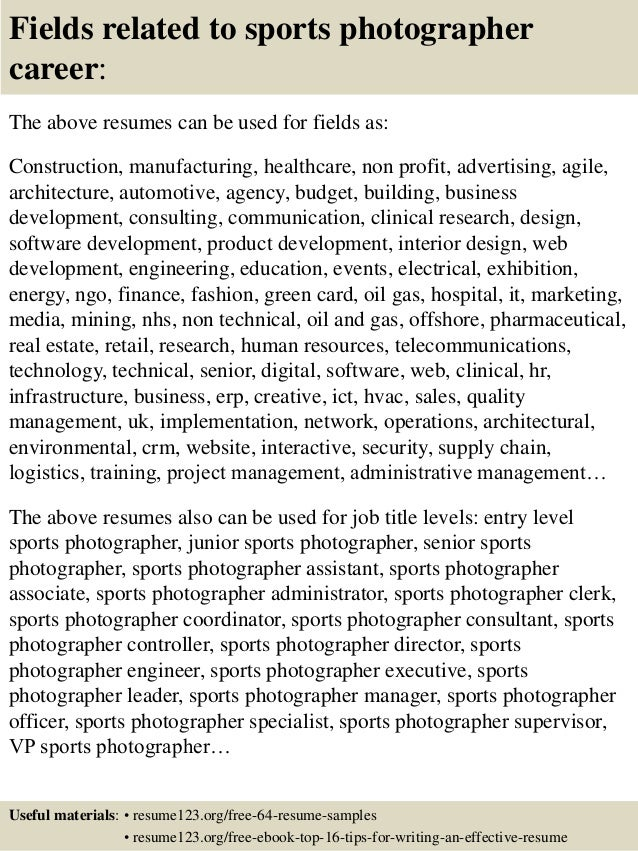 Top  Sports Photographer Resume Samples