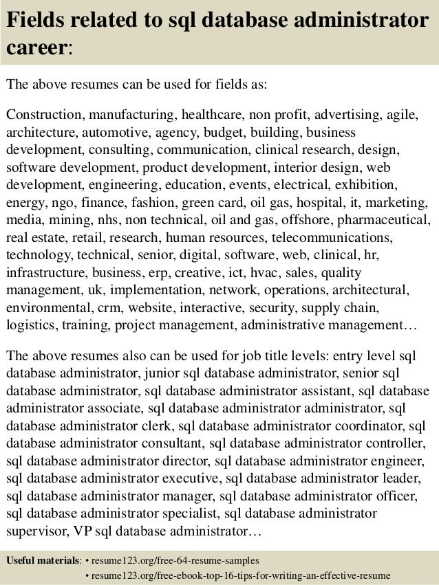 ... 16. Fields Related To Sql Database Administrator ...  Database Administrator Resume