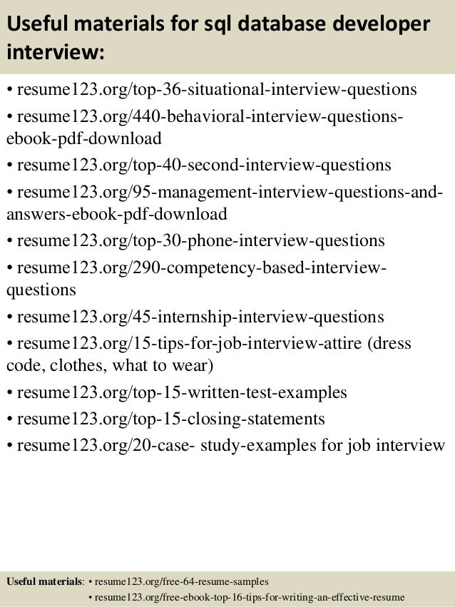Top 8 sql database developer resume samples
