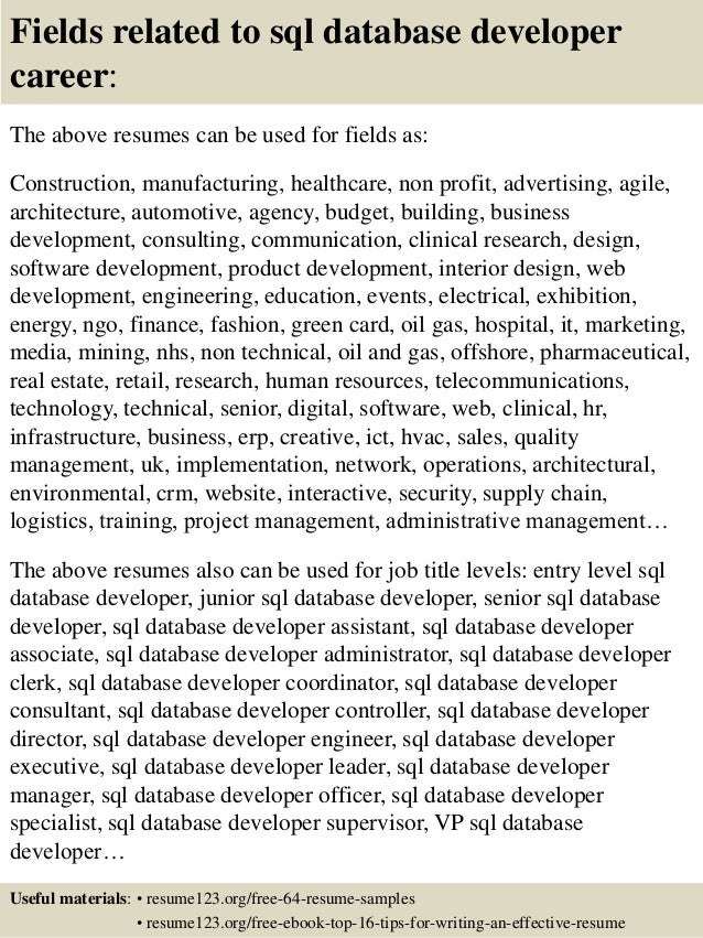 16 fields related to sql database developer - Database Developer Resume