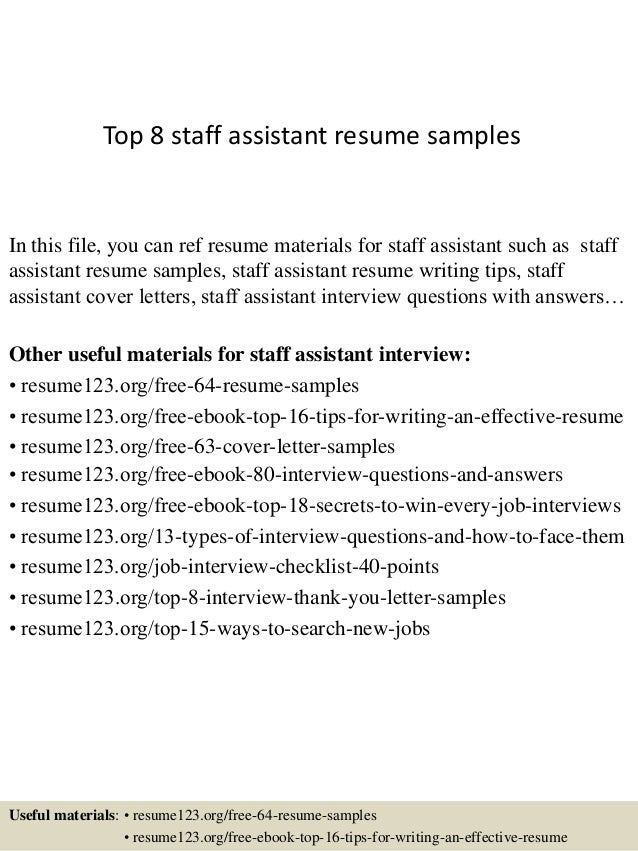 Top 8 Staff Assistant Resume Samples In This File, You Can Ref Resume  Materials For ...