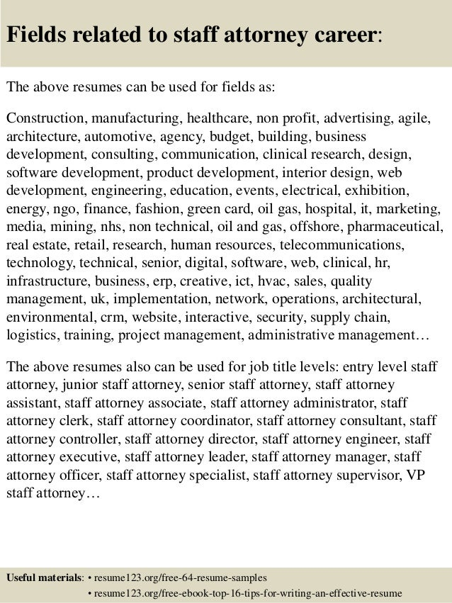 Top 8 Staff Attorney Resume Samples