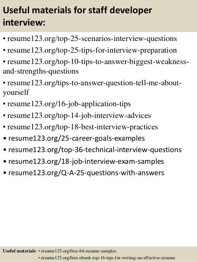 top 8 staff developer resume samples