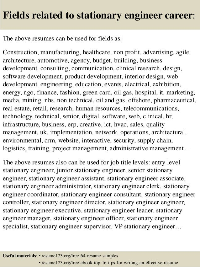 16 Fields Related To Stationary Engineer