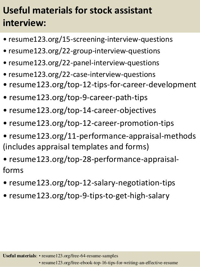 top 8 stock assistant resume samples