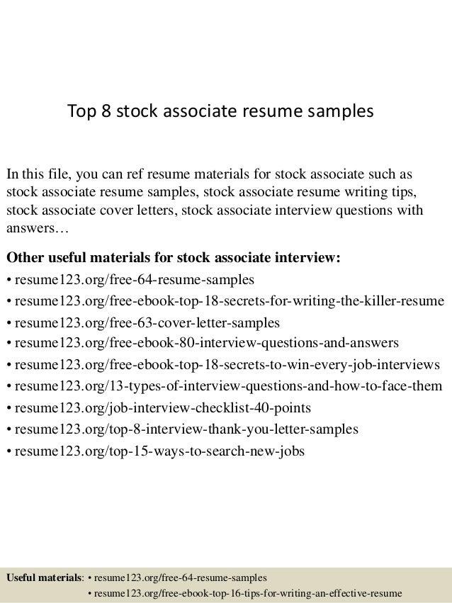 stock associate resumes