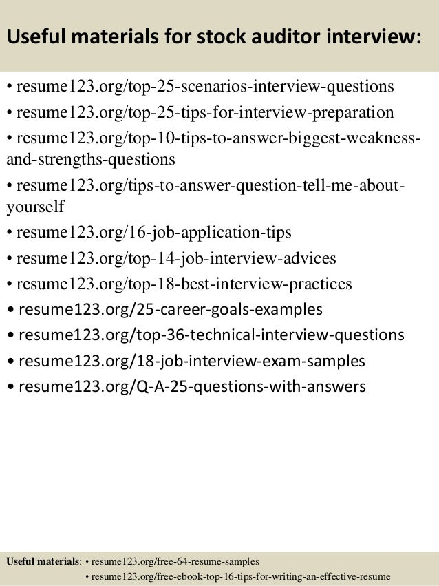 Top 8 stock auditor resume samples