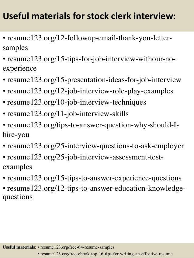 stock clerk resume samples