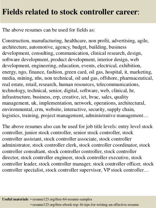 Top 8 stock controller resume samples