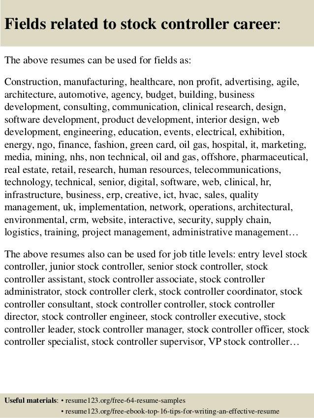 top 8 stock controller resume samples