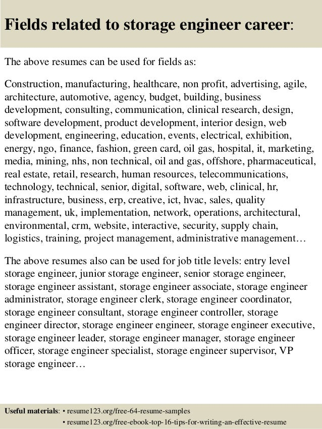 16 fields related to storage - Storage Administration Sample Resume