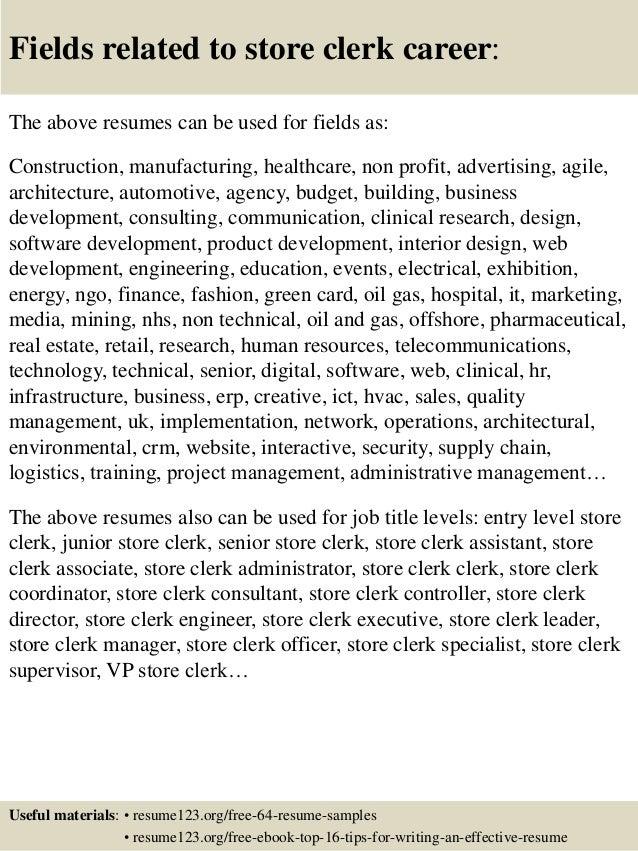 store clerk resume samples